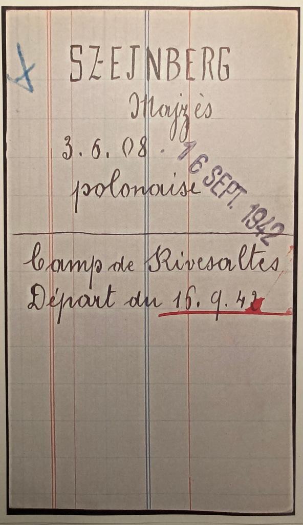 Fiche d'internement du camp de Drancy [AN, F9/5732]