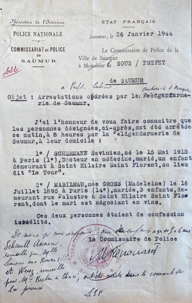 Arrestations janvier 1944 [ADML 97W40]