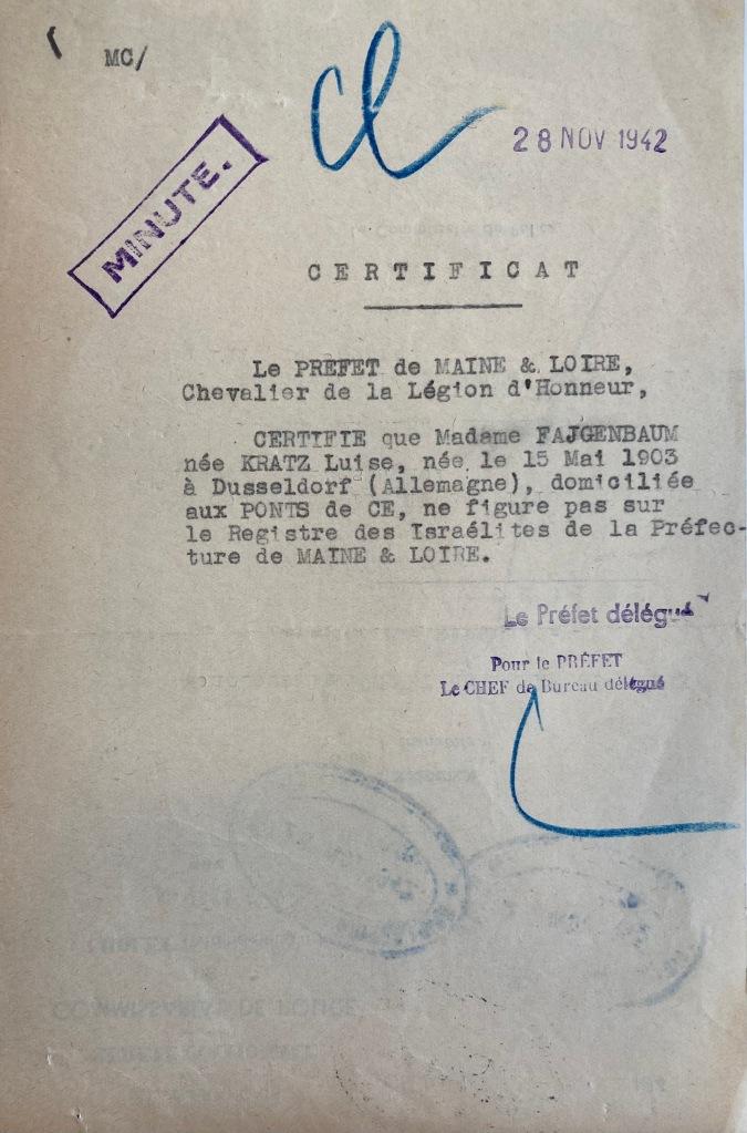 Contrôle de présence des Israélites1942-1944 [ADML 7W1]