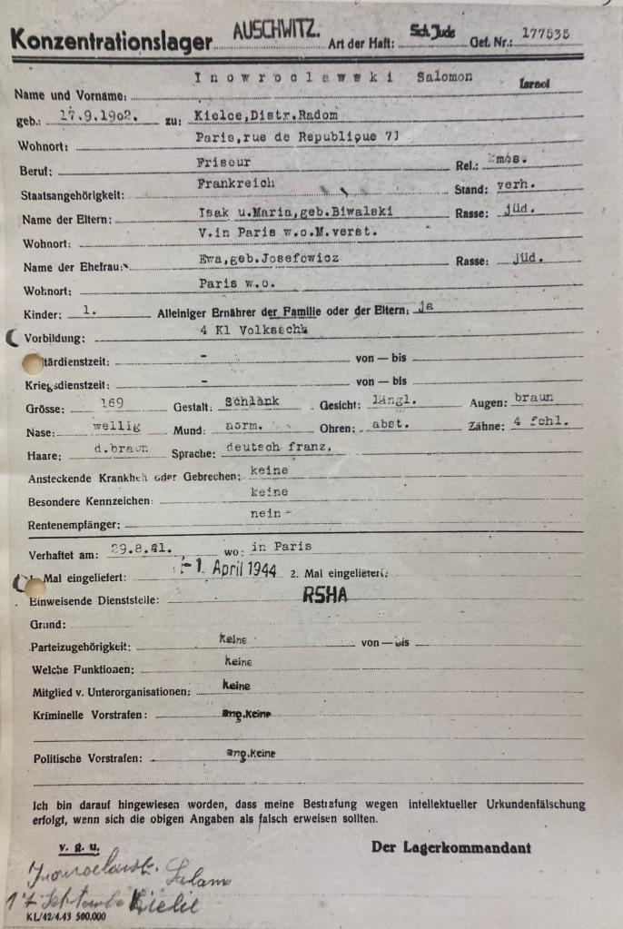 Fiche d'entrée du KL Auschwitz [DAVCC 26 P 835]