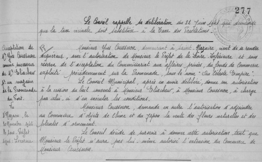 Délibération Conseil Municipal Le Pouliguen 08 novembre 1942 [ADLA, en ligne]