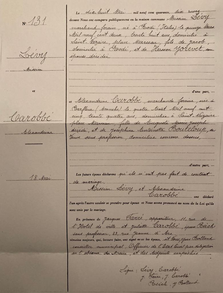Acte de mariage LEVY/CAROBBE [AM Saint-Nazaire]