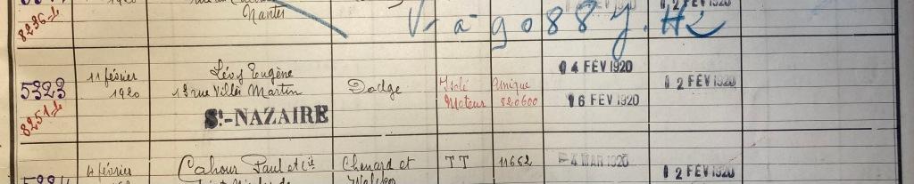 Registre enregistrement Véhicules Préfecture Nantes [ADLA 1902S306]
