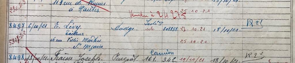 Registre enregistrement Véhicules Préfecture Nantes [ADLA 1902S307]
