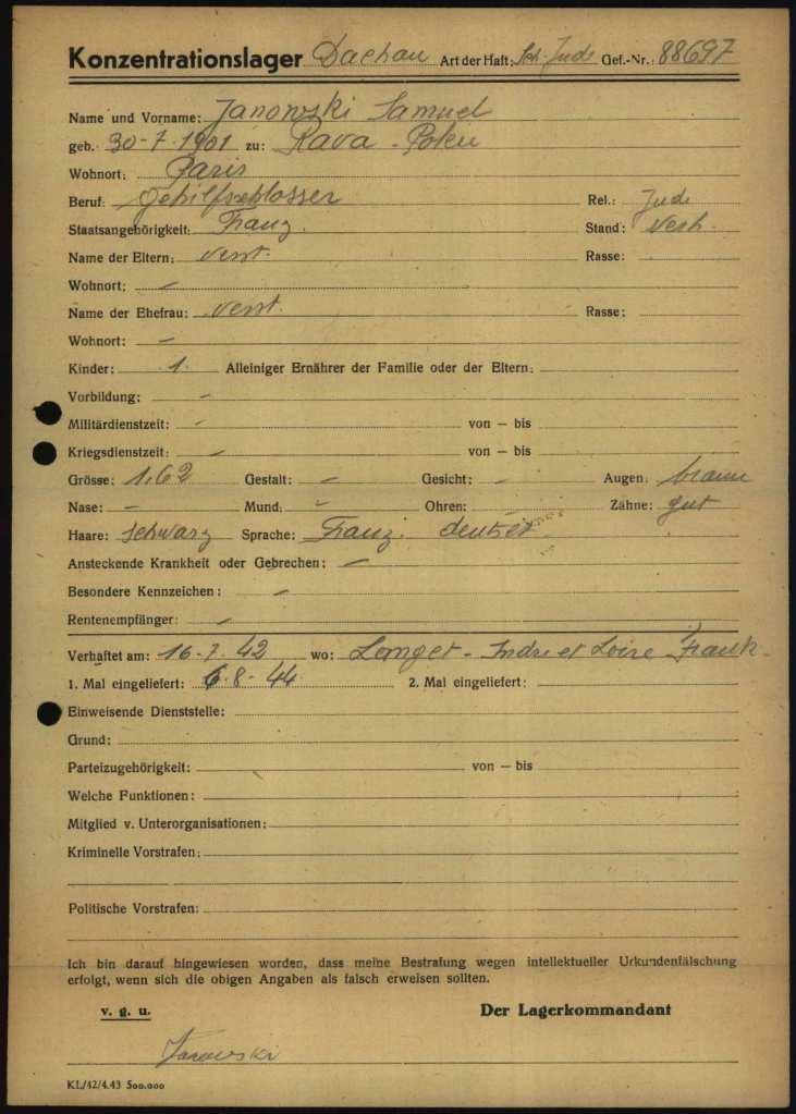 Fiche d'enregistrement du camp de Dachau pour Samuel JANOWSKI [https://collections.arolsen-archives.org/en/archive/10109178/?p=1&s=janowski%20Samuel&doc_id=10109180]