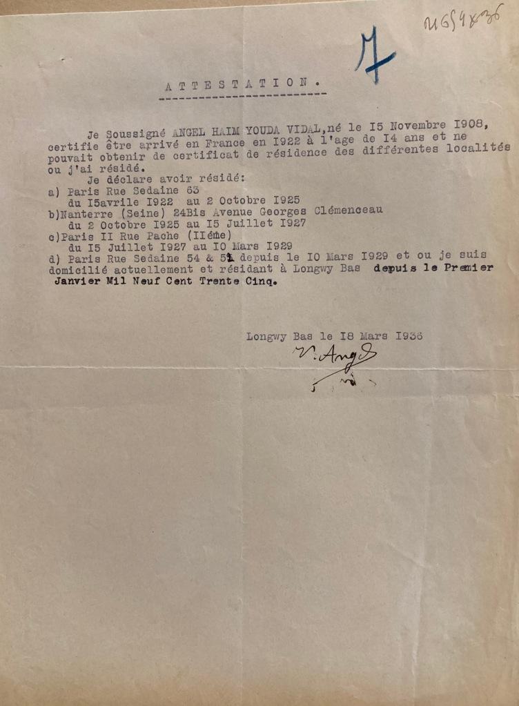 Certificats de résidence Dossier de naturalisation de Vidal ANGEL [AN 19770889/263 dossier n°21659X36]