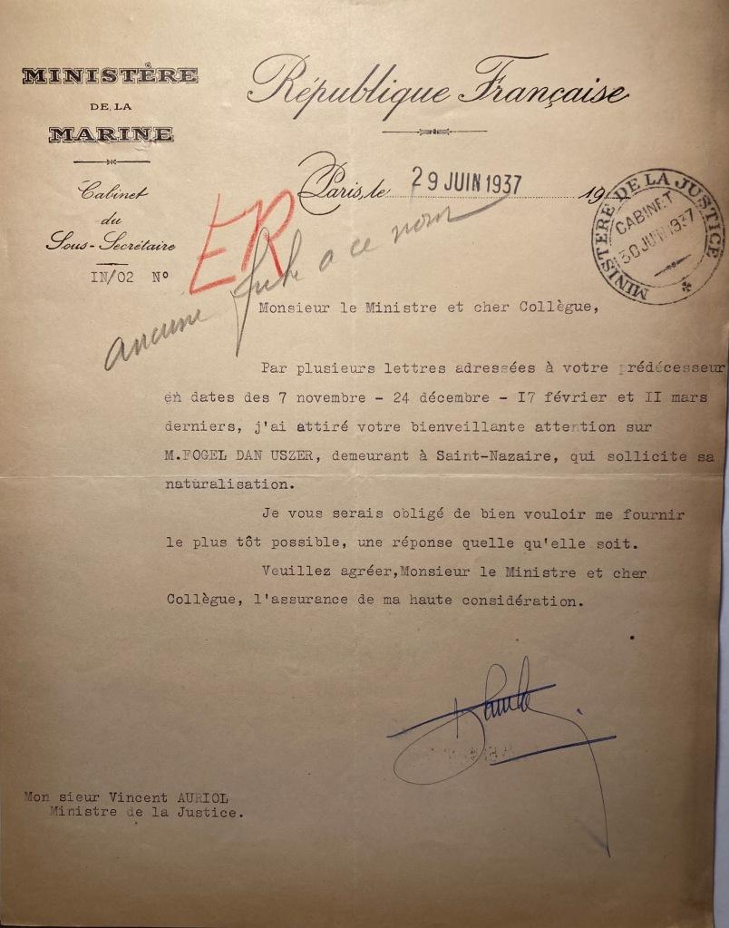 Dossier de naturalisation de Dan FOGEL [AN 19770892/218 n° de dossier n°10523X37]