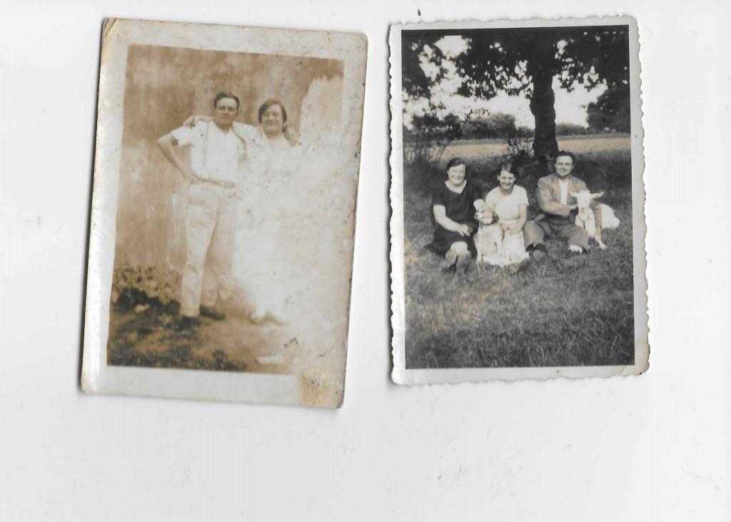 Photo de gauche (de gauche à droite): Louis et Albertine RENAUD (date inconnue) © collection particulière famille RENAUD Photo de droite (de gauche à droite) : Albertine RENAUD, la soeur adoptive d'Albertine RENAUD, Louis RENAUD (date inconnue) © collection particulière famille RENAUD