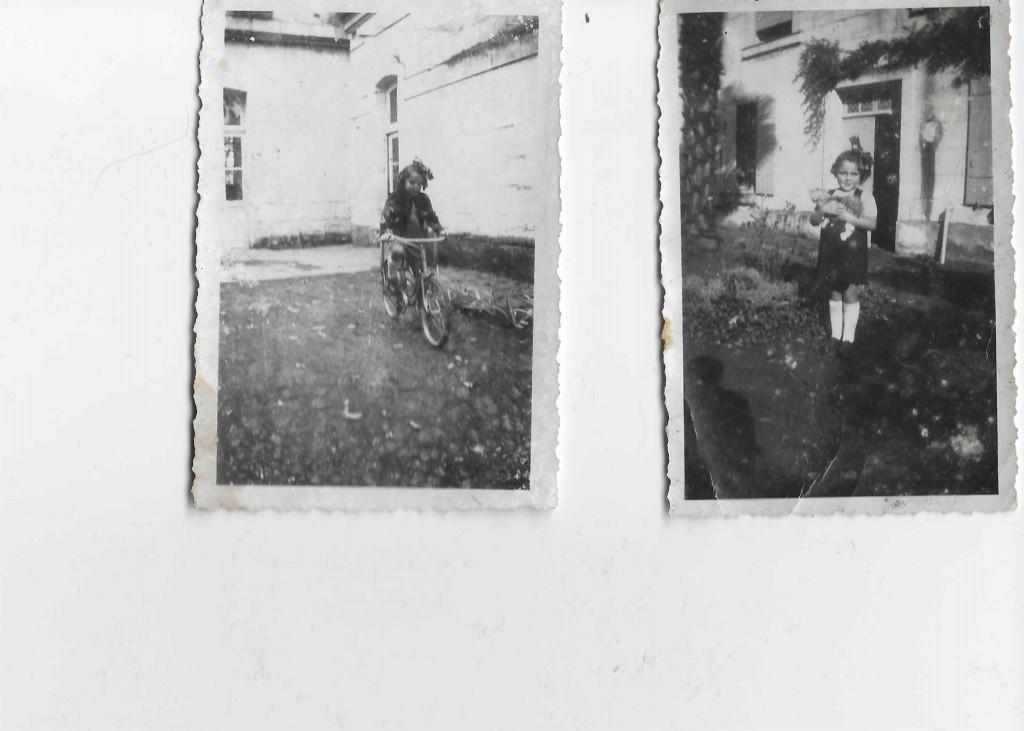 Photo de gauche Anja SCHAUL sur son petit vélo ; Photo de droite : Anja SCHAUL tenant dans ses bras un petit chat © collection particulière famille RENAUD