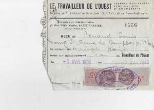 Bulletin d'abonnement de Louis RENAUD au Travailleur de l'Ouest 1939-1940  © collection particulière famille RENAUD