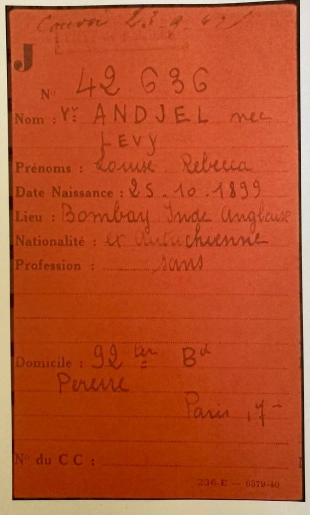 Fiche de Louise ANDJEL [Fichiers Préfecture Police Paris Individuel Adulte AN F9/5632]