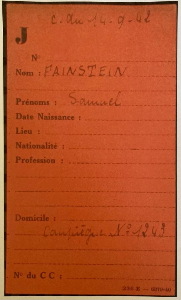 Fiche de Samuel FAINSTEIN [Fichiers Préfecture Police Paris Individuel Adulte F9/5640]