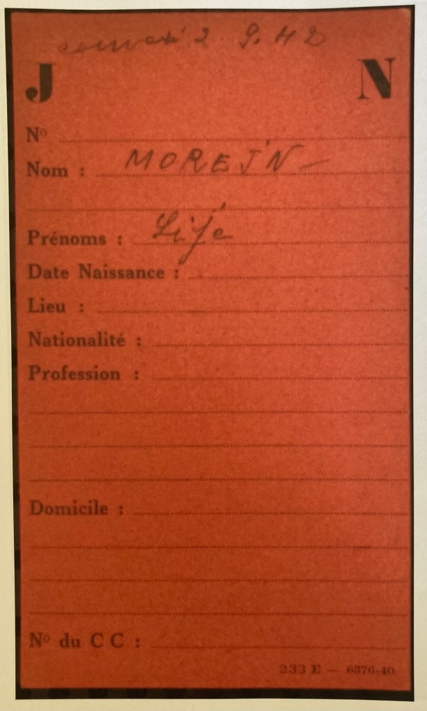 Fiche de Ilja (Lije) MOREJN [Fichiers Préfecture Police Individuel Adulte F9/5655]