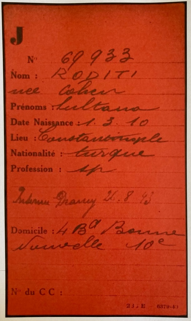 Fiche de RODITI Sultana [Fichiers Préfecture Police Paris Individuel Adulte AN F9/5658]