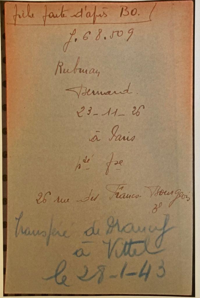 Fiche de Bernard RUBMAN [Fichiers Préfecture Police Paris Familial AN F9/5624]