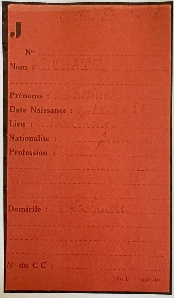 Fiche de SCHATZ Nadine [Fichiers Préfecture Individuel Enfant F9/5673]