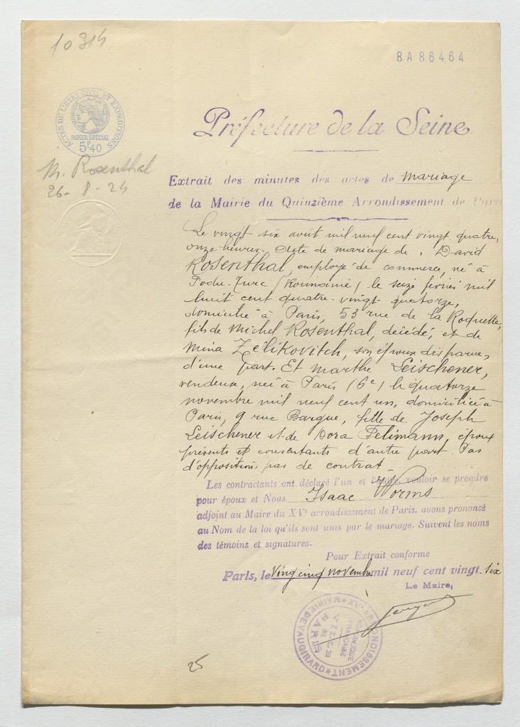Acte de mariage ROSENTHAL/LEISCHENER [Dossier naturalisation David ROSENTHAL AN BB/11/9790 dossier n°3267X27]